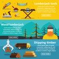 Lumberjack tools banner horizontal set, flat style