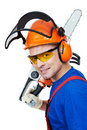 Lumberjack Worker With Chainsaw Isolated Royalty Free Stock Images