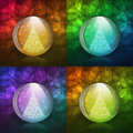 Luminescent snow globe four vector illustrations of a transparent with a christmas tree includes transparent objects blending Royalty Free Stock Image