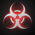 Luminous biohazard symbol with backlight effect on the black background Royalty Free Stock Images