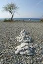 luna beach smooth rock piles Royalty Free Stock Photo
