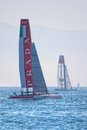 Luna rossa swordfish and china team catamarans during america s cup world series in naples Stock Photography