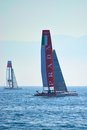 Luna rossa swordfish and china team catamarans during america s cup world series in naples Stock Images