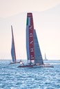 Luna rossa swordfish and piranha catamarans during america s cup world series in naples Stock Photos