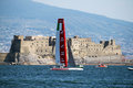 Luna rossa team prada in action in the america s cup world seires of naples in italy Stock Images