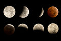 Lunar eclipse sequence including total blood moon Stock Photography