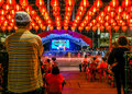 SINGAPORE, ASIA - FEBRUARY 3 - Chinese lanterns outside a temple