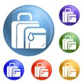 Lunch bag icons set vector