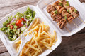 Lunch Box: kebabs, fries and fresh salad in tray close-up. Horiz Royalty Free Stock Photo