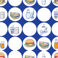 Lunch breakfast and fast food seamless pattern with vector icons of sandwiches coffee tea soda hamburgers in a repeat Stock Images