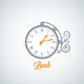 Lunch clock concept background Royalty Free Stock Photo