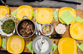 Lunch in the family barbecue and salads for with Royalty Free Stock Image