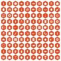 100 lunch icons hexagon orange