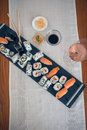 Lunch in Japanese style: sushi and nigiri Royalty Free Stock Photo