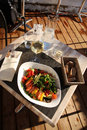 Lunch in the open-air restaurant (top view). Royalty Free Stock Photo