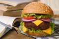 Lunch during study fresh big hamburger on a background of notebooks and textbooks closeup horizontal Royalty Free Stock Photo
