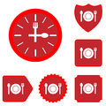 Lunch time food icon set