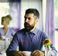 Lunch time and hot beverage concept. Man with thoughtful face Royalty Free Stock Photo