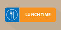 Lunch time sign closeup of a with a knife and fork symbol Stock Photography