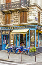 Lunch time on a typical french pavement in the marais paris france Stock Photos