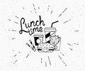 Lunch time vintage label of burger with coffee and french fries in hipster style Royalty Free Stock Photo