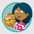 Lunchtime snack happy indian girl eating a huge layered sandwich for lunch Royalty Free Stock Image