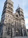 Lund in scania in sweden the historic cathedral of a city scane Royalty Free Stock Images