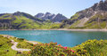 Luner see and glacier austria beautiful view to dam lake vorarlberg austrian landscape Stock Photos