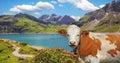 Luner see and milk cow austria dam lake vorarlberg idyllic austrian landscape Royalty Free Stock Photo