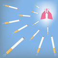Lung and cigarette smoking attack the lungs concept vector illustration eps Royalty Free Stock Photo