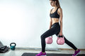 Lunge with rose kettlebell Royalty Free Stock Photo
