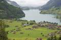 Lungernsee lungern and view from brünigpass switzerland Stock Image