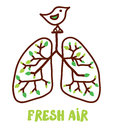Lungs and nature illustration for the fresh air concept Stock Photography
