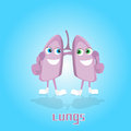 Lungs Smiling Cartoon Character Icon Banner