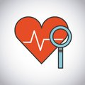 Lupe and stethoscope icon. Medical and health care design. Vecto