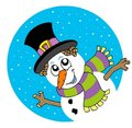 Lurking cartoon snowman Stock Images