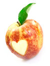 Luscious red apple with heart cutout Stock Photo