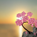Lush Japanese Sakura. Tree pink cherry on the stone. Against the backdrop of a beautiful sunset. illustration