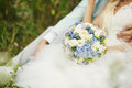 Lush wedding bouquet and bride Stock Photography