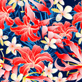 Lush yellow and red tropical seamless pattern Stock Images