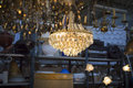 Luster on a flea market with other ceiling lights Stock Image