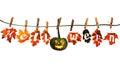 Lustiger halloween kürbis hängend an einem seil mit herbst Lizenzfreies Stockfoto