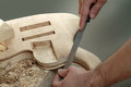 Luthier detail making of a stringed instrument Stock Image