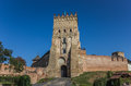 Lutsk castle with the ukrainian flag on top in Stock Photo