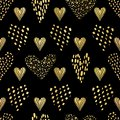 Luxe Black Gold Love Hearts Sprinkles Texture Pattern, Seamless Vector Royalty Free Stock Photo