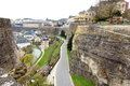 Luxembourg aerial view of the grund fortifications picture taken on a cloudy day showing from in Stock Photo