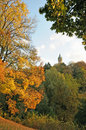 Luxembourg in autumn evening with golden leaves on trees Royalty Free Stock Photos