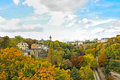Luxembourg city autumn in with bright trees Stock Image
