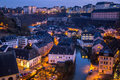 Luxembourg city old town grund historical center night scene Royalty Free Stock Images