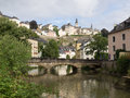 Luxembourg city with river alzette view of from the lower basse ville Royalty Free Stock Images
